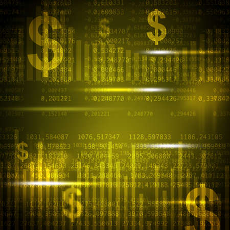 Abstract yellow background with numbers and dollar signs