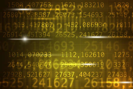 numbers abstract: Abstract yellow background with numbers and light