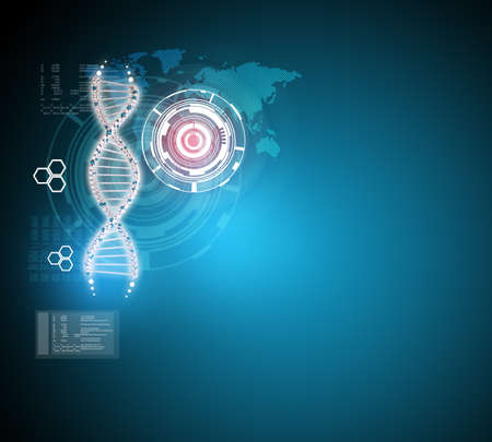genomes: Abstract blue background with DNA molecule and world map, closeup