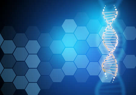 genomes: Abstract blue background with DNA molecule, closeup
