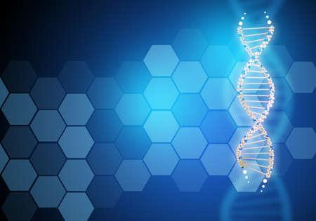 Resumen de fondo azul con la molécula de ADN, primer