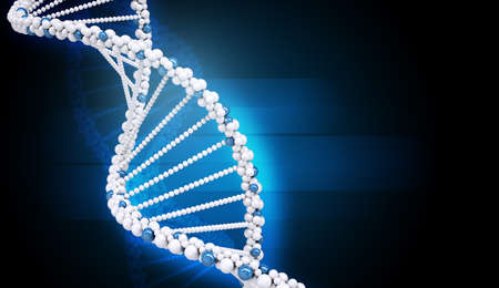 genomes: DNA molecule on abstract blue background, closeup