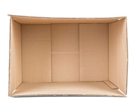Empty brown cardboard box isolated on white background