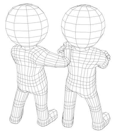 two friends: Puppet 3d men two friends isolated on white background, vector illustration. Rear view