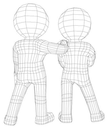 3d puppet: Puppet 3d men two friends isolated on white background, vector. Rear view Illustration
