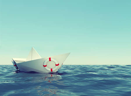paper boat: Paper boat in sea with blue sky and waves