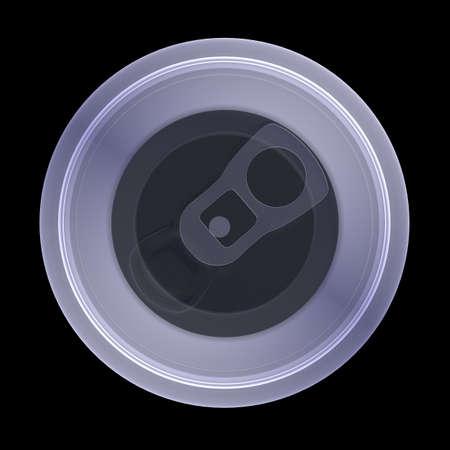 lata de refresco: Radiografía de refresco lata de aluminio sobre fondo negro, vista desde arriba Foto de archivo