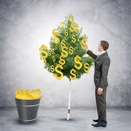 signos de pesos: Businessman collecting dollar signs from tree with bucket full of dollars, easy money concept