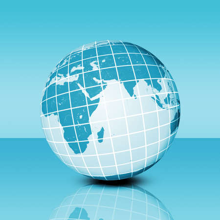 reflexion: Earth planet  with net and reflexion, technology concept Stock Photo