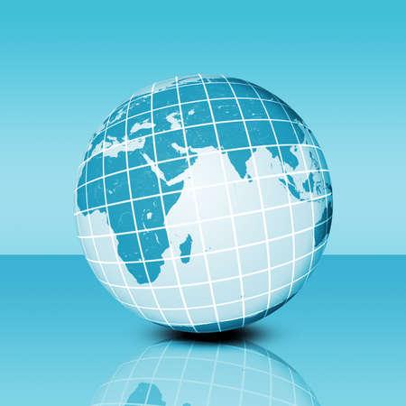reflexion: el planeta tierra con la red y la reflexión, el concepto de tecnología