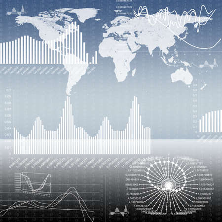 graphical: Abstract background with graphical charts and world map, technology concept Stock Photo