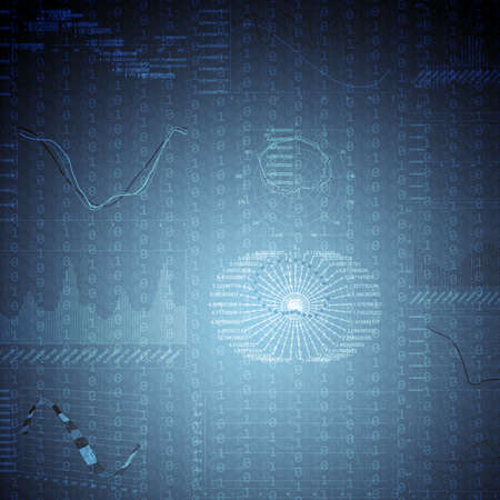 graphical: Abstract dark blue background with graphical chart, internet concept Stock Photo