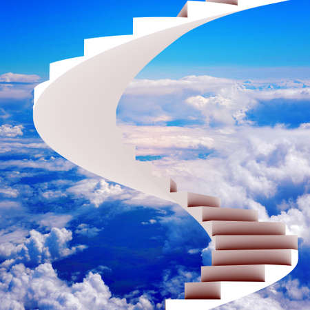 stairway: Stairway leading up in sky with clouds, heaven concept
