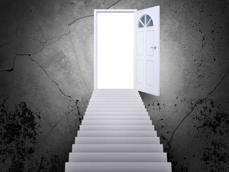 leading light: Stairway leading to open door with light