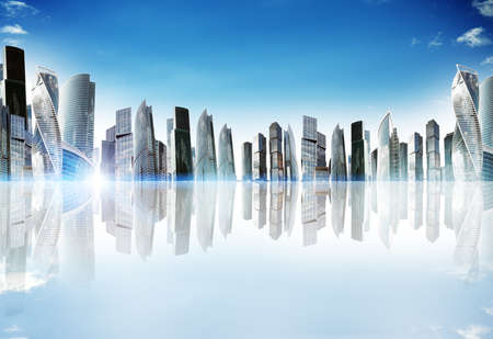 Cityscape with reflexion and bright skyline, urban concept Stock Photo
