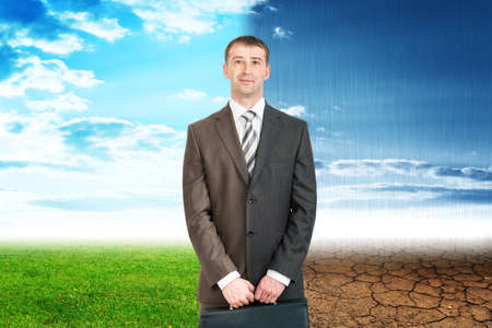 Two sides businessman with good and bad weather, eco concept