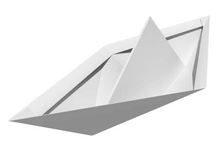 paper boat: Origami paper boat isolated on white background, top view