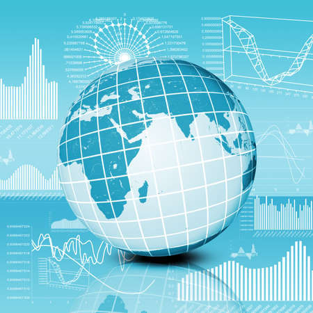 graphical: Abstract background with graphical charts and earth planet, technology concept Stock Photo