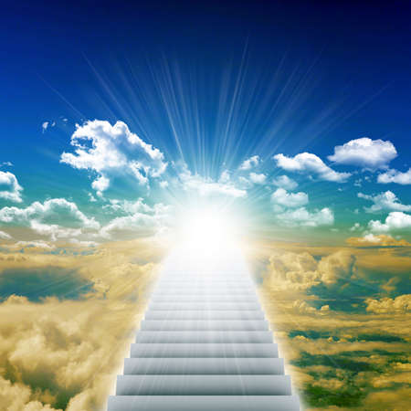 leading light: Stairway leading up to bright light with clouds, heaven concept