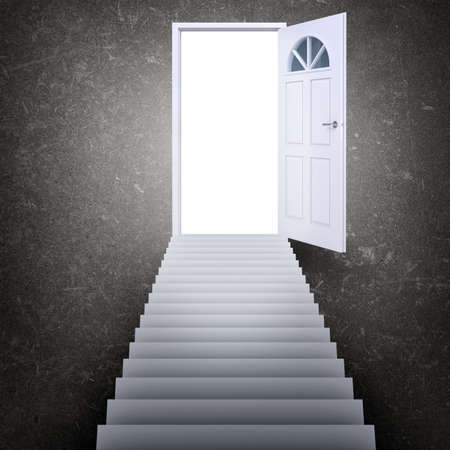 heavens gates: Stairway leading to open door with light