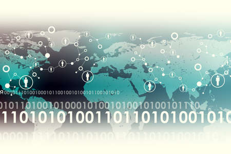 matrix: Abstract background with world map and numbers, technology concept Stock Photo