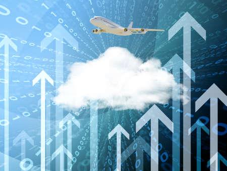 figuras abstractas: Resumen de fondo con la nube y las flechas, el concepto de tecnolog�a Foto de archivo