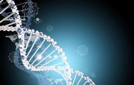 abstract background: DNA molecule with world map on abstract blue background, medicine concept