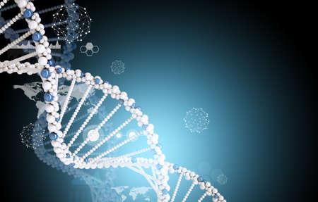 fondos azules: mol�cula de ADN con el mapa del mundo en resumen fondo azul, el concepto de la medicina Foto de archivo