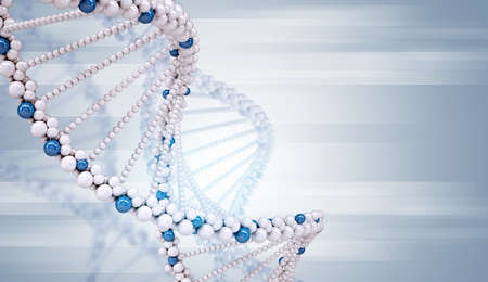 genomes: DNA molecule on abstract blue background, medicine concept Stock Photo