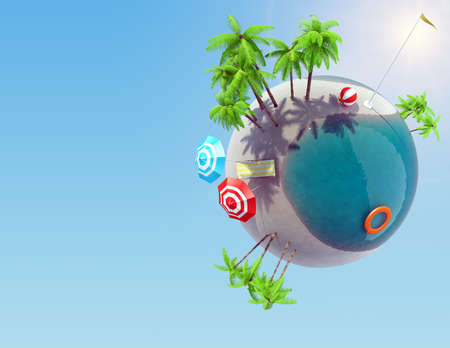 blue circle: Earth globe with palm trees and pool, vacation concept
