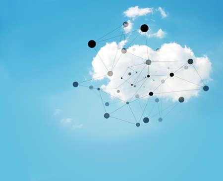 cielo: Nube en el cielo azul con puntos conectados, el concepto de tecnolog�a Foto de archivo