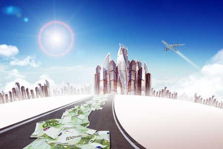 signos de pesos: Automático en el camino de la carretera con la ciudad y el jet, concepto de negocio