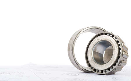 bearing: Roller bearing on blue prints, side view Stock Photo