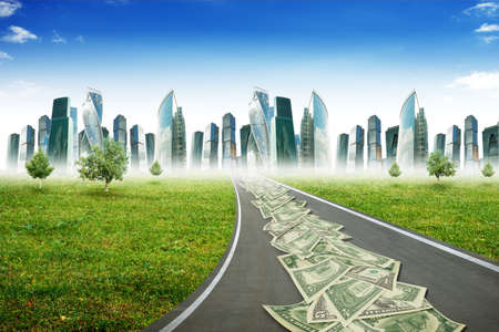 dollar signs: Cash on highway road with city and blue sky, business concept