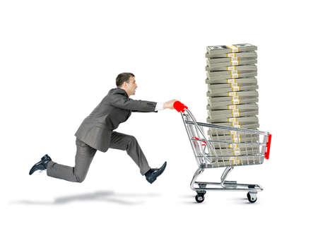 Businessman pushing shopping cart with money isolated on white background Stock Photo