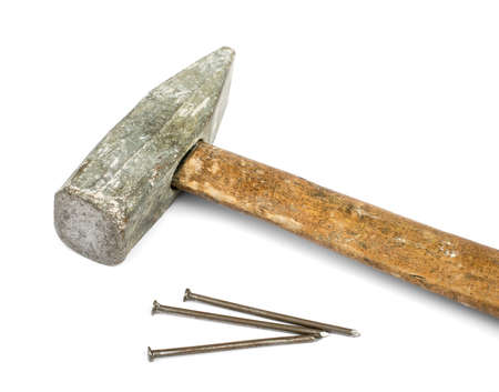 hardware repair: Old hammer with nails isolated on white background Stock Photo