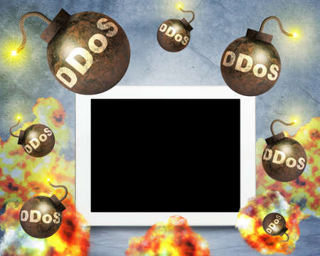 blank bomb: Bombs with fire falling on tablet, danger concept