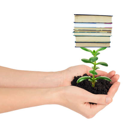 hands holding plant: Hands holding plant with books isolated on white background, ecology concept