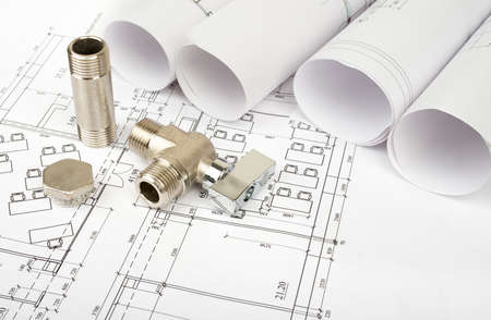turn the screw: Architecture plan with mixer tap. Building concept Stock Photo