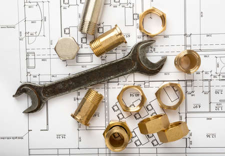 turn the screw: Architecture plan with plunger pins and turn-screws. Building concept