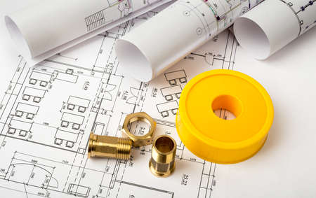 fixer: Architecture plan with plunger pins. Building concept Stock Photo