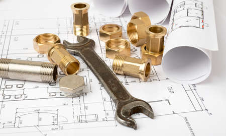 turnscrew: Architecture plan with plunger pins and turn-screw, closeup. Building concept Stock Photo