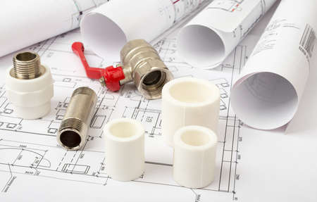 turnscrew: Architecture plan with turn-screw and mixer tap, closeup view. Building concept Stock Photo