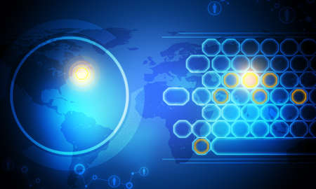 holographic: Holographic screen with world map and circles on blue background, technology concept