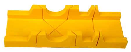 hardware tools: Plastic mitre box isolated on white background, closeup