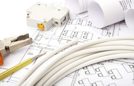 cabel: Architecture plan and rolls of blueprints with cable. Building concept