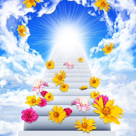 going: Stairs with flowers going up to heaven in sky Stock Photo
