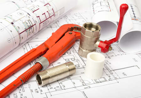 fixer: Architecture plan with red turn-screw and mixer tap. Building concept