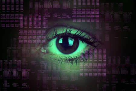 human eye: Human eye on abstract background, technology concept