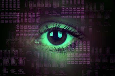 ojo humano: ojo humano en el fondo abstracto, el concepto de tecnología